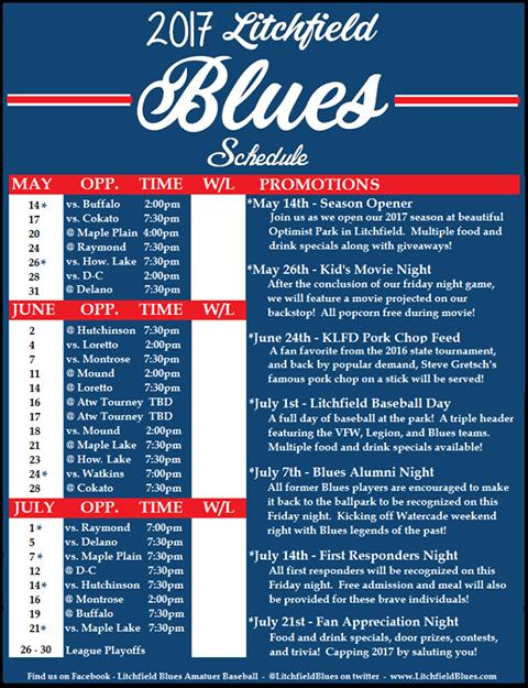 2017 Litchfield Blues Schedule